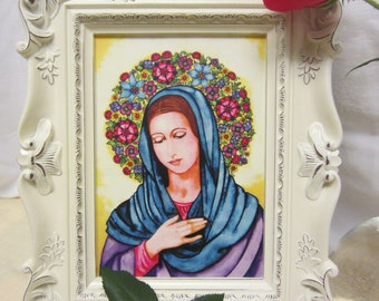 "Print of an original watercolor painting - ""The Virgin Mother"" 5"" X 7"""