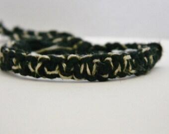 Adjustable Black & Natural Hemp Yarn Bracelet