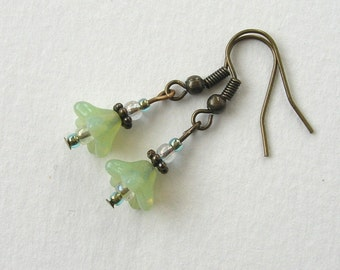 Czech Glass Flower Earrings, Green, Antiqued Brass