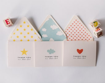 personalized baby shower thank you cards +  lined envelopes (sets of 10)  // lola louie paperie
