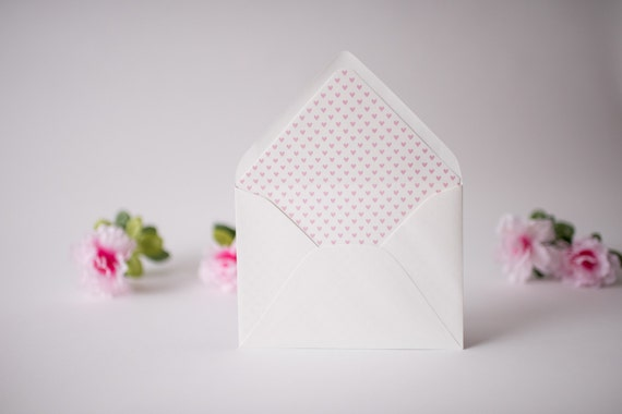 mini hearts lined envelopes (18 color options) - sets of 10