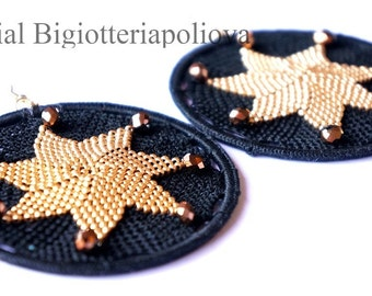 Star earrings beaded crochet tutorial