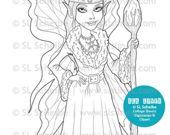 Winter fairy digital stamp, digistamp fairy with winter theme, elemental fairy coloring page by SLS lines