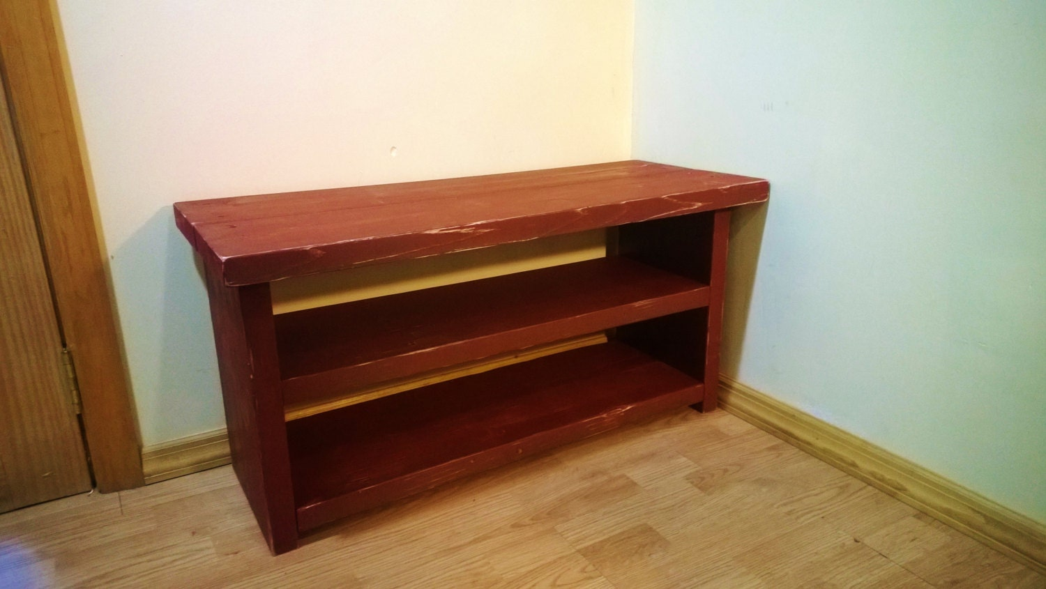 Shoe Storage Bench Rack 36 Rustic Distressed Barn Red