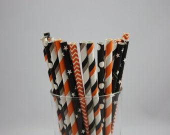 "Halloween Party Paper Straws - 7.75"" - orange and black - black and orange - halloween party - halloween straws - happy halloween - straws"