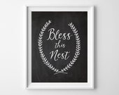 50% OFF. Bless this nest - housewarming gift, Printable Art, typographic print, bless this home art, Home Decor Printable