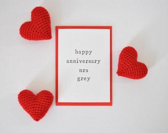 Personalised 'Happy Anniversary Mrs' Card