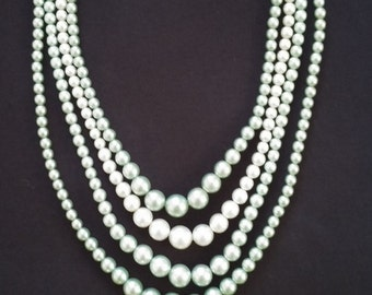 Vintage Mint Green Four Strand Pearls