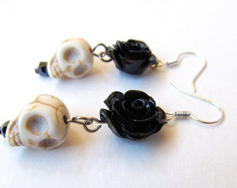 Rosa Calavera dangle earrings-black rose (rose skull flower, skull earrings, Halloween, dia de los muertos, day of the dead, turquoise)