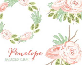 Watercolor Clipart // Flower Clip Art // Commercial Use