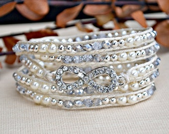 Pearl and Crystal Infinity Wrap Bracelet