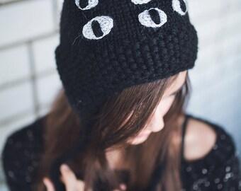 Acrylic knit black cat beanie, hat with cat ears, knit cat hat, non-wool hat, knit wool winter  hat, animal beanie, ear flap, cat ears hat