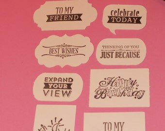 """25 1 1/2"""" inch hand stamped bracket cards labels for cards, crafts, gifts, parties, scrapbooking etc."""