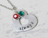 Always - Hand stamped heart washer necklace - Love and family jewelry - Birthstone jewelry