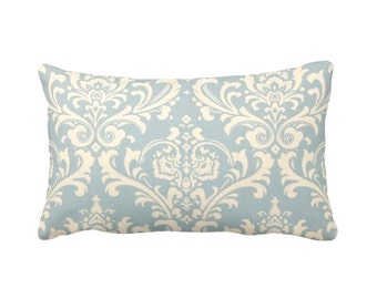 7 Sizes Available: Damask Throw Pillow Cover Damask Pillow Cover Blue Pillow Cover Light Blue Pillow Blue Cushion Cover Blue Accent Pillow