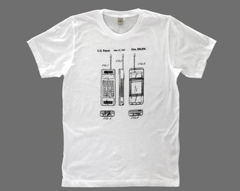 men's patent drawing t-shirt, screen printed t-shirt, alternative apparel t-shirt, CELL PHONE  t-shirt, patent drawing