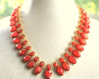 ON SALE Red bib necklace set, statement teardrops necklace, Coral red necklace, Gift idea.
