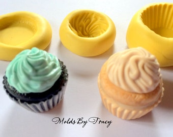 Kawaii Cupcake Mold Mould Resin Polymer Clay Wax Chocolate Fondant (001)