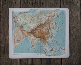 1907 - Large Asia Topography Map - Colorful Antique Map Printed in German