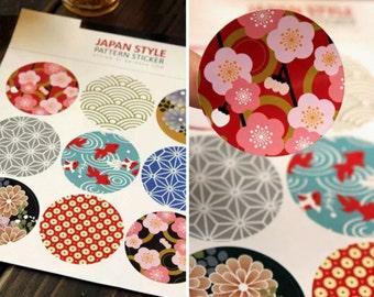 Japanese Kimono Print Stickers