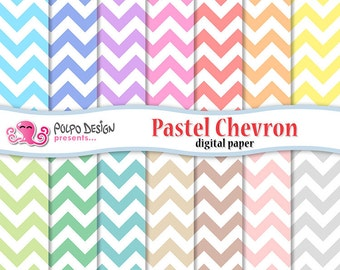 Pastel chevron digital papers. Commercial & Personal Use. Instant Download. chevrons pattern patterns paper baby light colors scrapbooking