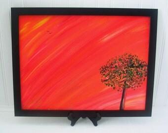 Orange Decor | Tree Painting | Orange Abstract Painting | Acrylic Canvas Painting | Home Decor  | Wall Art | Corbett Painting # 73