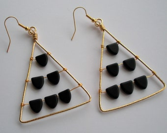 Geometric abacus triangle gold wire earrings