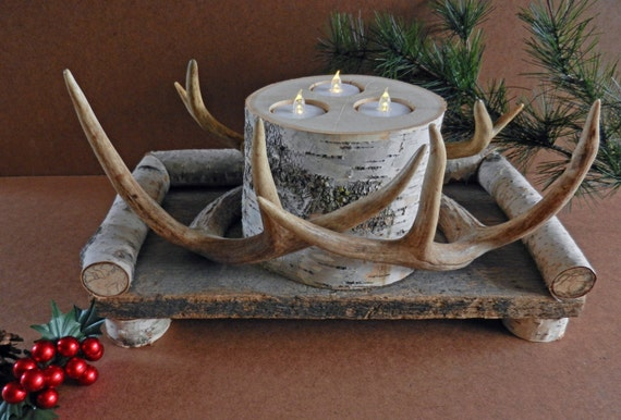 Rustic antler centerpiece birch candle holder by thecreativeq