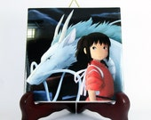 Chihiro and Haku as a dragon Spirited Away Ceramic Tile     Studio Ghibli Hayao Miyazaki Anime Manga Japan gift idea Mod.2