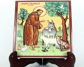 Catholic Saints, Francis of Assisi, catholic icon on tile, handmade in Italy, religious decor, St Francis, Saint Francis of Assisi
