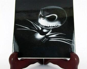 The Nightmare before Christmas collectible ceramic tile tnbc Jack Skellington Tim Burton goth gothic gift idea mod. 109