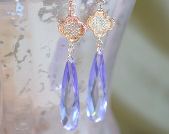 Lavender Cubic Zirconia Chandelier Earrings - Rose Gold Plated