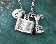 Inkwell Necklace, Quill Necklace, Book Necklace, Personalized Necklace, Writing Necklace, Writer Jewelry, Teacher Gift Author Charm Necklace