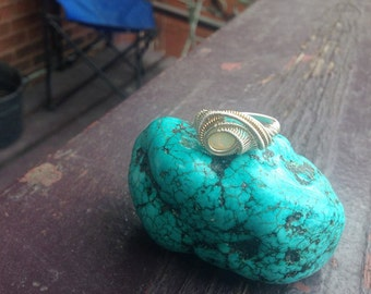 Opal Wire Wrap Ring, fine silver and gold fill wire