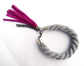 Chunky Rope Bracelet, Magenta Leather Tassel Bracelet, Tassel Jewelry, Boho Bracelet
