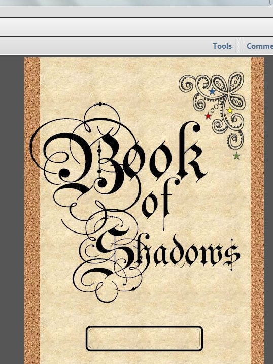 How To Make A Book Of Shadows Cover : Book of shadows cover page instant download for grimoires