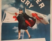 "1942-43 Red Cross ""VOLUNTEER FOR VICTORY"" -  Original Vintage Poster"