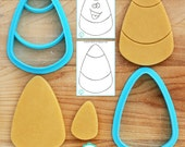 """Candy Corn Cutter -Two Designs - Regular or Imprint for 1/4"""" or 3/8"""" Thick Dough - **Guideline Sketches to Print Below**"""