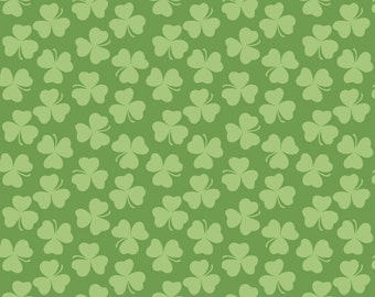 Shamrock Fabric, Riley Blake C562 Holiday Clover Green, St Patricks Day Fabric, Green Cotton Fabric, Irish Green Fabric, Clover Fabric