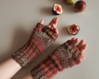 Hand knit fingerless gloves, Fig colored mittens
