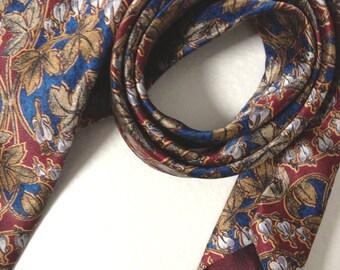 Vintage LANVIN Paris - Pure Silk NECKTIE - Red and blue - 80's