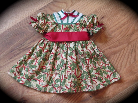 Christmas dress red green gold holiday 18 inch doll christmas