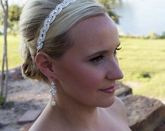 Bridal Headband, Swarovski crystal wedding headband, bridal hair accessories, wedding headband headpiece, Kiara Swarovski Headband