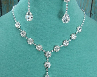 Crystal Rhinestone Teardrop Jewelry Set, Crystal Wedding Necklace Set, bridal jewelry set, wedding set, bridesmaid jewelry set 210708264