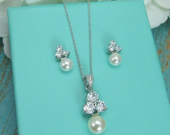 Bridesmaid Jewelry Set, CZ Pearl Wedding Necklace Set, bridal jewelry, wedding jewelry, cz jewelry set, pearl jewelry set 210725198
