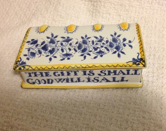 Ladies Hand Warmer, Booked shape, Flask, The Gift is Small /Good Will is All, Reproduction Delftware,