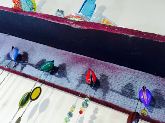 pallet wood wall art/ hanging shelf /floating shelves /reclaimed wood home decor /accent shelving stenciled red birds 5 hand-painted knobs