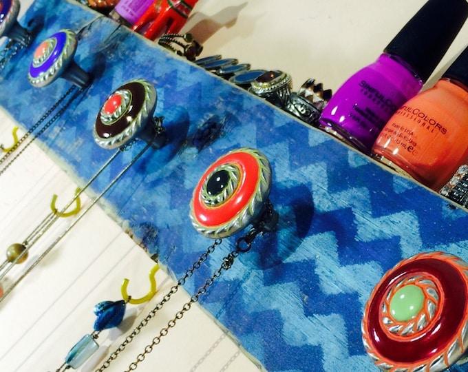 Pallet wood decor /Necklace holder reclaimed wood coat rack/ jewelry wall hanging storage organization Aqua blue chevron 4 hooks 5 knobs