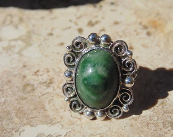 Abraham Tobias ~ Mexican Sterling Silver and Green Cab Ring Size 4  ~ c.1930's