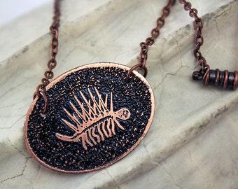 Etched Copper Burgess Shale Hallucigenia Design Pendant Necklace